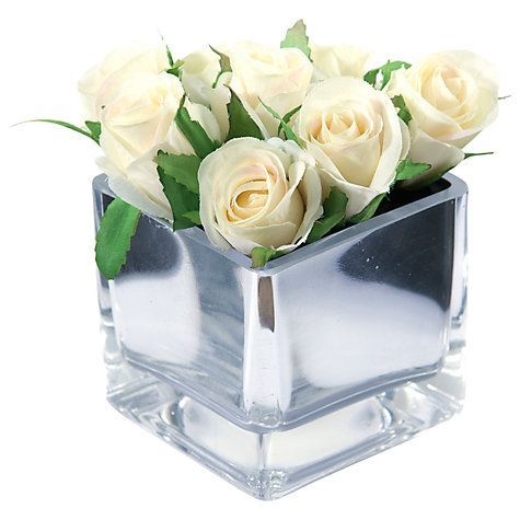 Buy Peony Roses In Glass Cube, Small Online at johnlewis.com