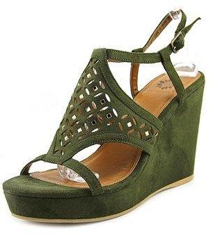 Yellow Box Splendor Women Open Toe Suede Green Wedge Sandal.
