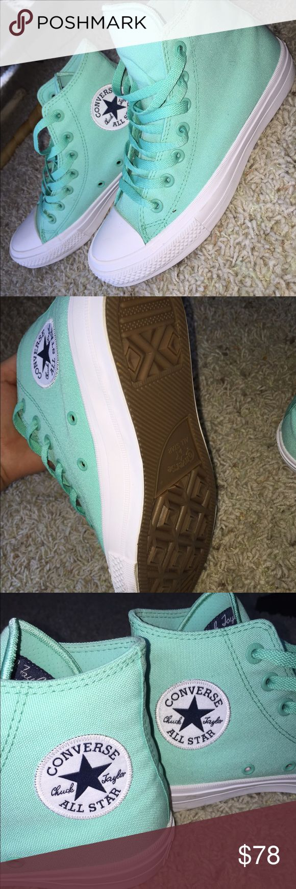 Converse Chuck Taylor All Star ll High Top How cute are these mint colored high top converse?! These are brand new-NEVER WORN! Size 7.5 (I absolutely love these shoes but they are too big for me) PRICE is FIRM! I would like what I paid for them! :) Converse Shoes Sneakers