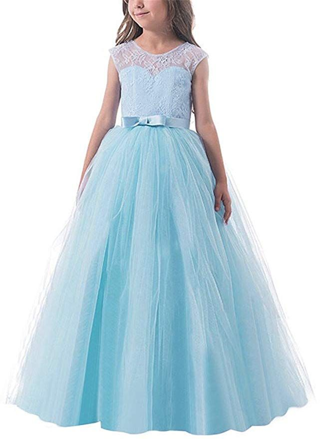 b25109848b Amazon.com  WEONEDREAM Long Sleeve Lace Girl Dresses Wedding Party Size 3-14   Clothing