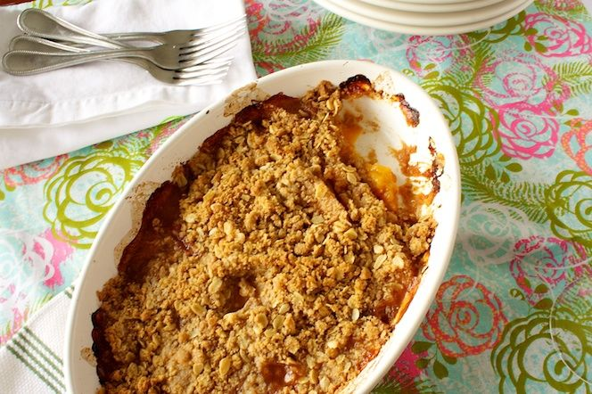 Peach Crisp above 075 Incredibly Easy Peach Crisp   and a Giveaway!