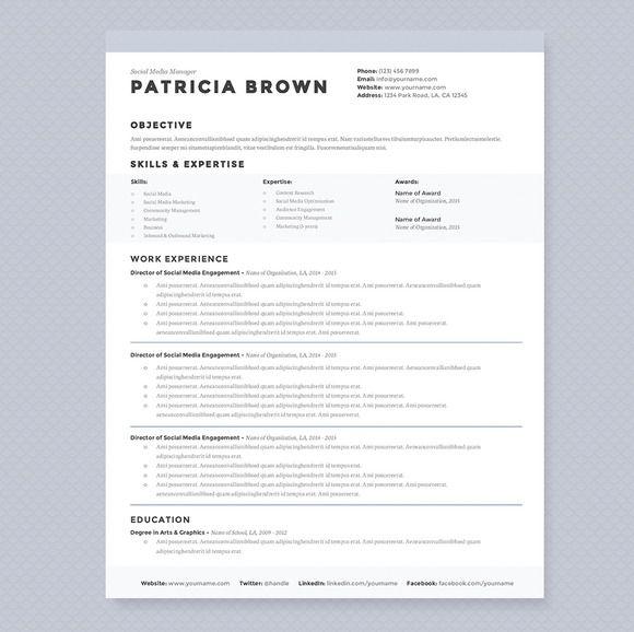 Clean Resume Template Pkg. by JannaLynnCreative on Creative Market