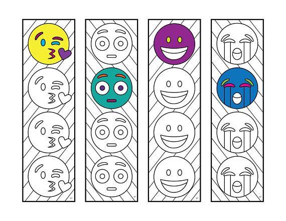Emoji 3 Bookmarks PDF Zentangle