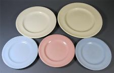 Vintage/retro 50s-60s Johnson Sovereign Pottery plate x 5  'rope-edge' crockery