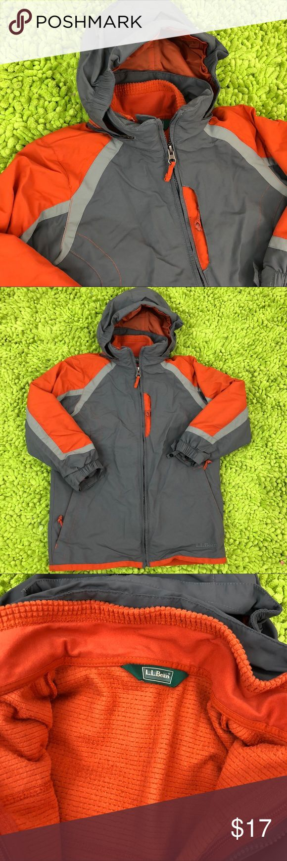 L.L. Bean Boys 3-in-1 Winter Coat Size 6X L.L. Bean Boys 3-in-1 Snow Jacket   Size 6X  Hood stores in zippered neck compartment  Zip out fleece has zip front and pockets  Coat has side zippered pockets   Velcro-closure-and-elastic cuffs  Wear the coat with fleece zipped in, wear the fleece alone, or wear the water-resistant shell for rainy day  Orange and Gray  Great condition!  Machine Washable!  Note -- Child's name is filled in on inner name tag (inside fleece) See last pic   Smoke Free…