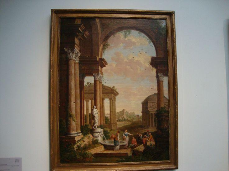 in dit schilderij zie je een repoussoir want het gebouw op de voorgrond ontneemt je de rest van het beeld