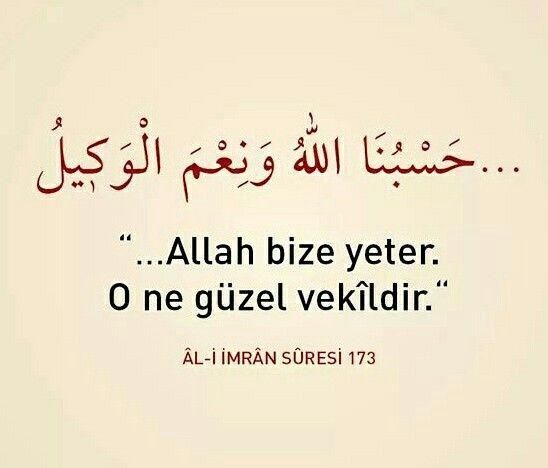 Allah bize yeter, O ne güzel vekildir.  [Al-i imran Suresi]  #aliimran #Allah #yeter #güzel #vekil #ayet #ayetler #dua #iman #islam #türkiye #ilmisuffa