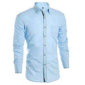 Camisa hombre manga larga,camisas hombre azul claro,camisa de hombre