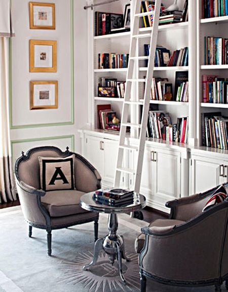 Library Ladder Chairs And Built In Book Case