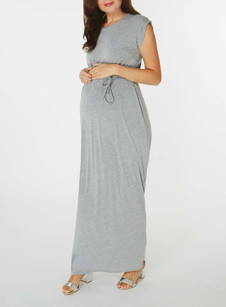 Womens **Maternity Grey Short Sleeve Maxi Dress- Grey