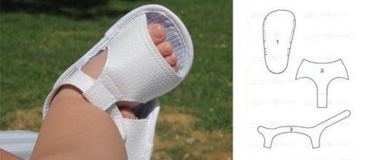 Patrón de sandalias de bebé de polipiel