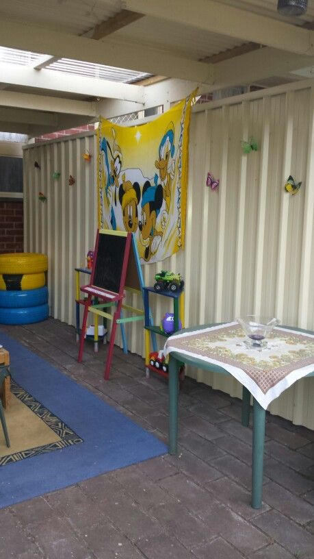Kids play area from another angle . Put the butterfly's up yesterday