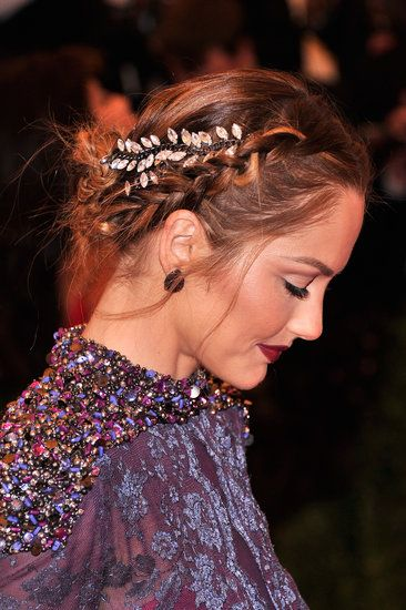 Minka Kelly wove deconstructed necklaces into this braided updo.
