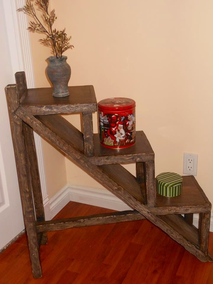 Stairstep shelving unit from salvaged wood