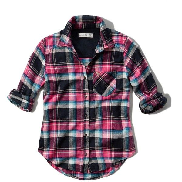 Abercrombie & Fitch girls plaid flannel pocket shirt found on Polyvore featuring tops, shirts, turquoise plaid, flannel tops, shirts & tops, drape top, drapey shirt and tartan top