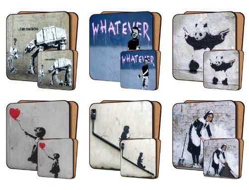 6 Banksy Placemats + 6 Banksy Coasters, New Banksy Art Cheap, Dinnerware Sets