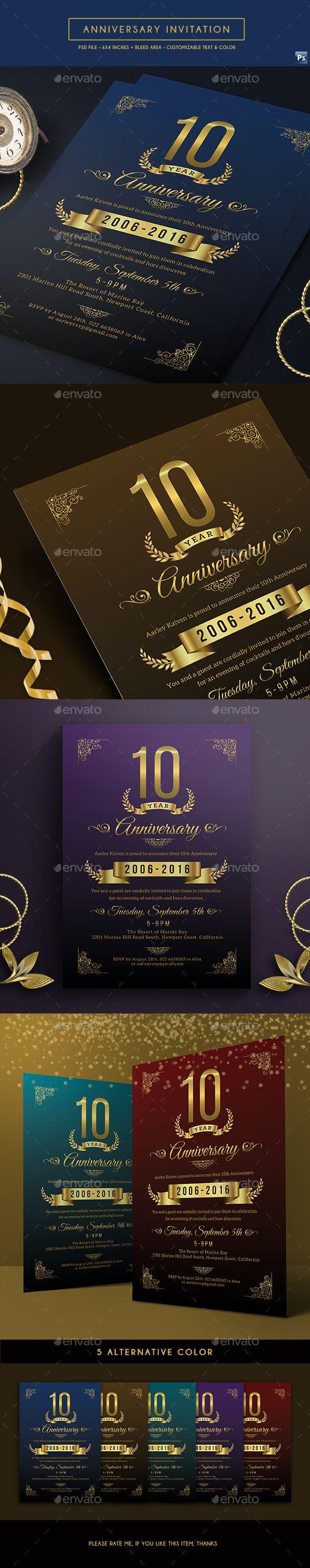 Anniversary Invitation Template PSD. Download here: https://graphicriver.net/item/anniversary-invitation/17546141?ref=ksioks