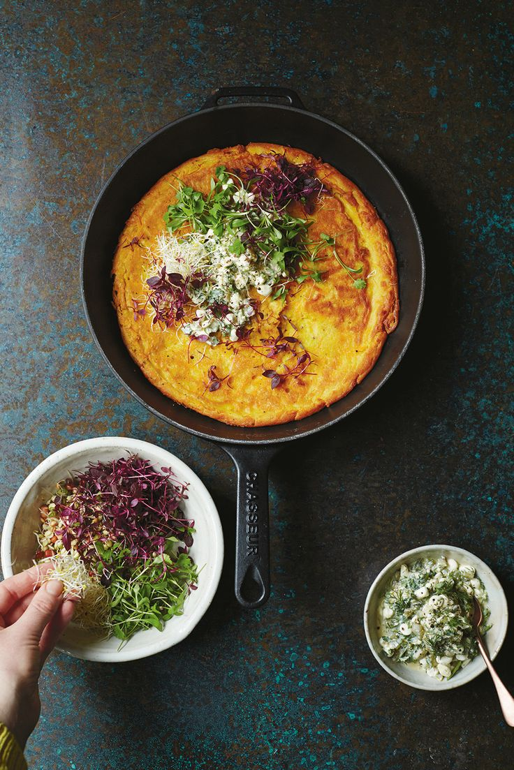 Carrot and chickpea pancake with lemon-spiked dressing #healthy #breakfast #pancake