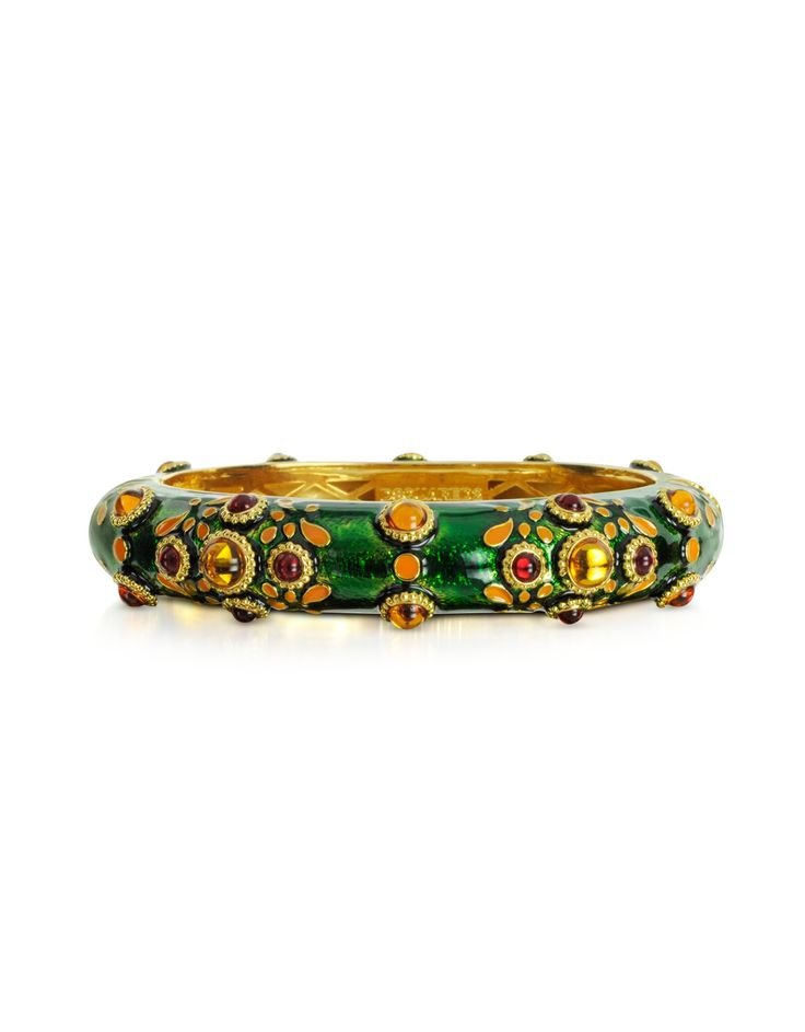 DSquared2 Green Charlotte Brass and Enamel Bracelet at FORZIERI