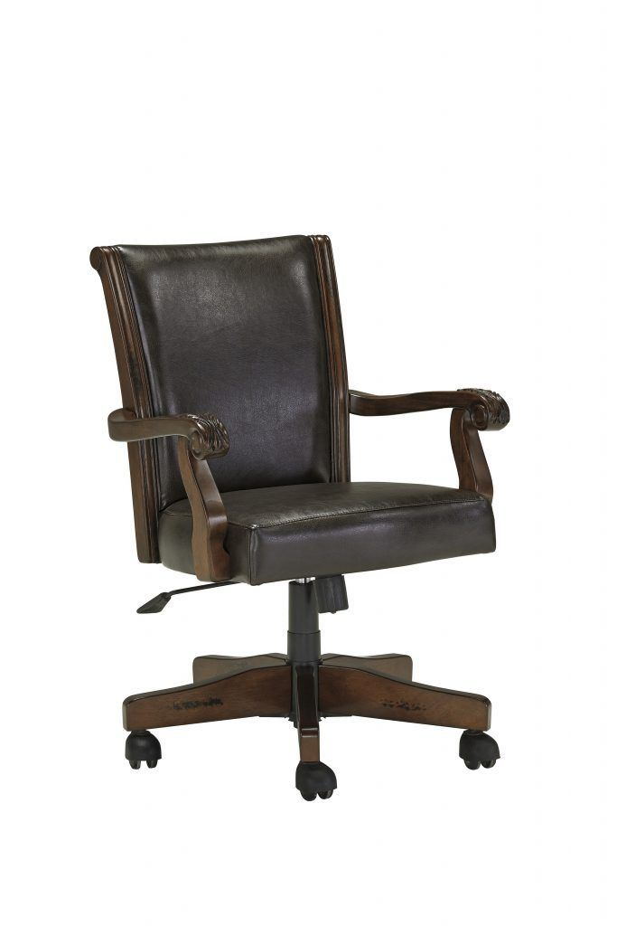 Furniture Dark Brown Mahogany Swivel Chair With Pneumatic Pump And