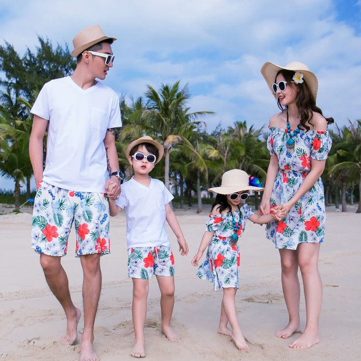 New Beach Family Set Off Shoulder Mother/Mom and Daughter Dresses Clothes Father Son Tops+Shorts Family Clothing Sets 3XL GS38