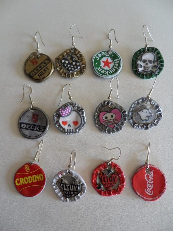 Orecchini con tappi per birra riciclati - earrings - recycled beer caps