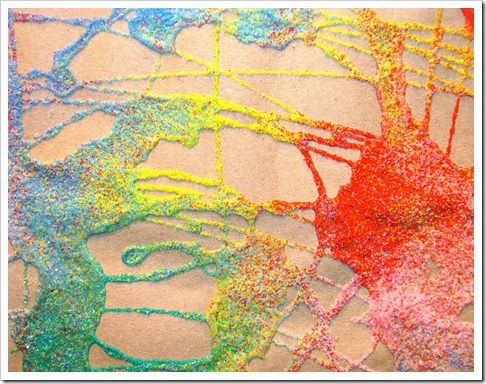 Sand or glitter painting.
