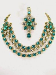 Exotic Gold Plated Necklace Set Adorned With Shiny Cz, White & Green Stones
