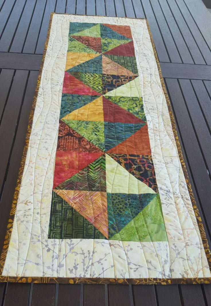 Batik Table Runner In Autumn Tones Small Quilting