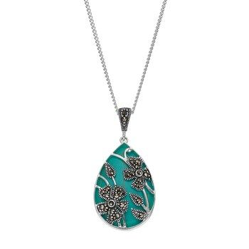 d1d7bd014 Tori Hill Simulated Turquoise & Marcasite Flower Teardrop Pendant Necklace