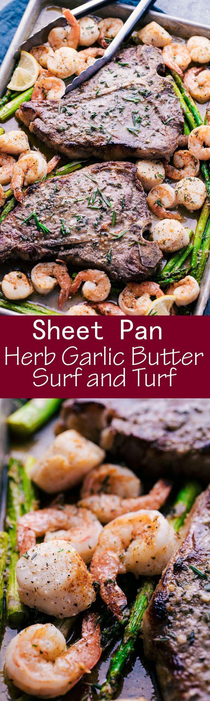 SHEET PAN HERB GARLIC BUTTER SURF AND TURF