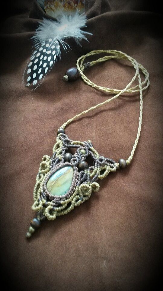Macrame necklace with Picture Jasper*