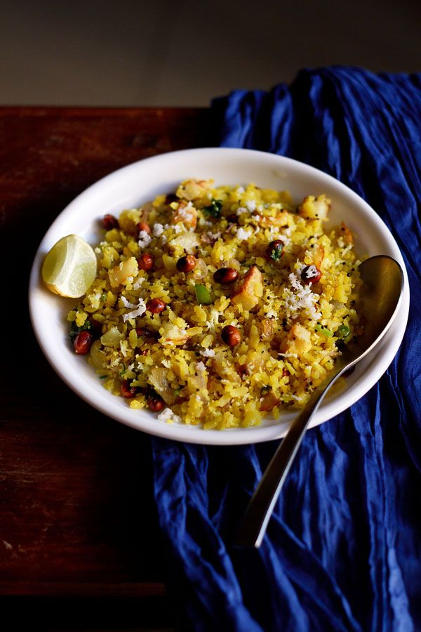 onion potato poha recipe – easy to make recipe of poha or flattened rice with onions and potatoes. quick and healthy snack
