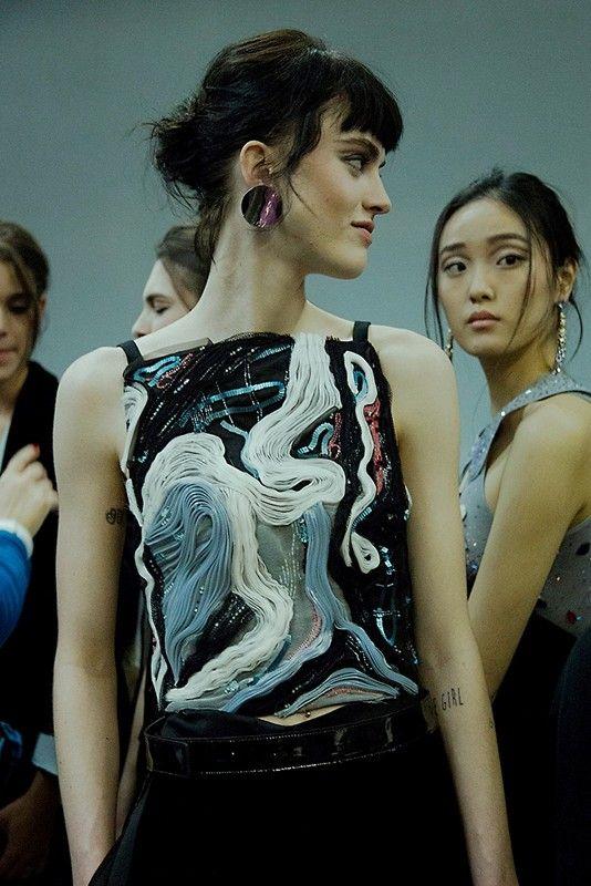 Swirly pleated fabric at Giorgio Armani AW15 MFW. See more here: http://www.dazeddigital.com/fashion/article/23915/1/giorgio-armani-aw15
