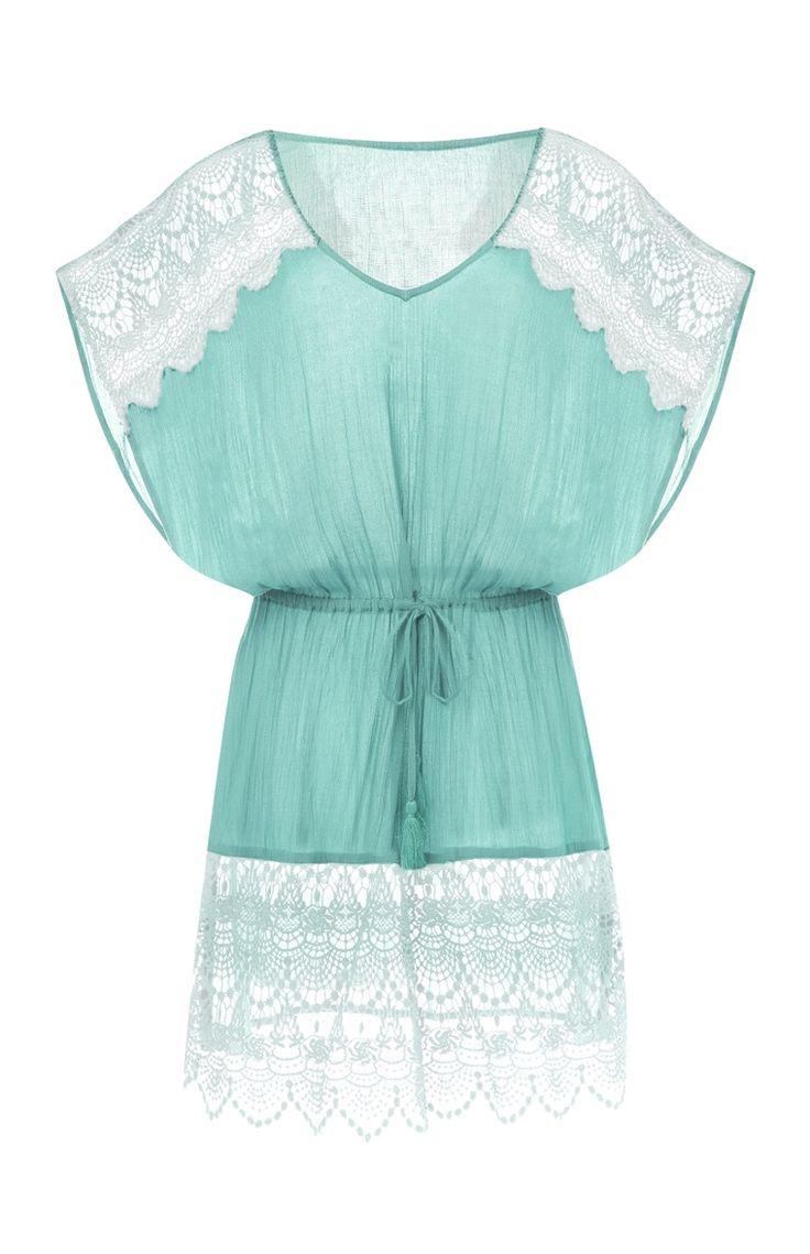 Primark - Robe bleue avec dentelle et crochet