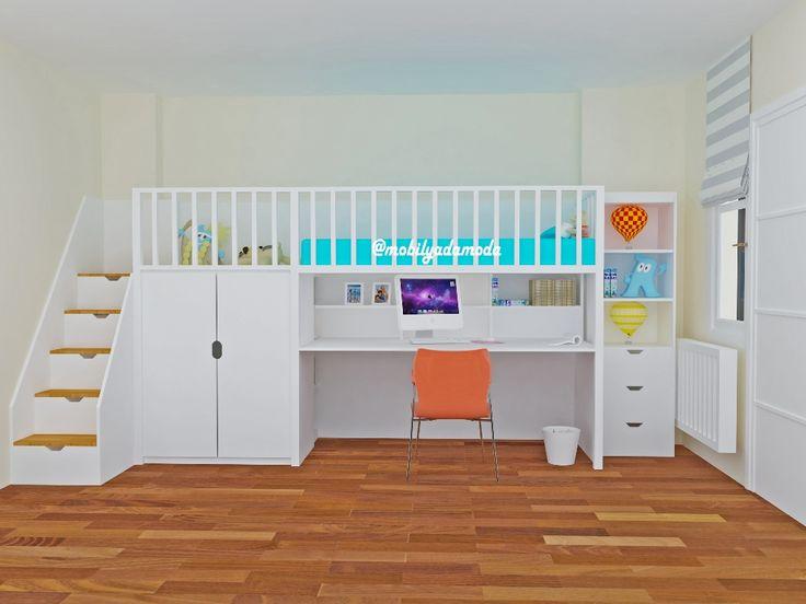 Fonksiyonel çekmece basamakları, kitaplığı, rafları, çalışma masası, oyun alanı ve yatma alanıyla kompleks bir mobilya tasarımı Mobilyada Moda'dan... İyi Haftalar... #mobilyadamoda #ranzaalticalismamasasi #alticalismamasaliranza #ranza #cocukodasi #cocukodasitasarimi