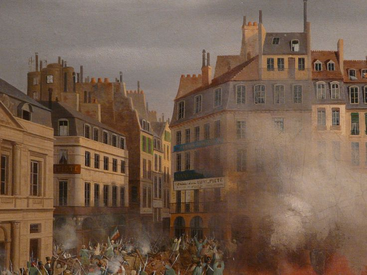 "HAGNAUER Eugène,1848 - Incendie du Château d'Eau, Place du Palais-Royal, le 24 février (Carnavalet) - Détail 11  -  TAGS / painter peintre details detail détails detalles painting paintings peinture ""peinture 19e"" ""19th-century paintings"" ""French paintings"" ""peinture française"" ""French painters"" ""peintres français"" tableaux Museum Paris France fire blaze death drame drama tragedy man men combat fight battle diligence coach town ville city Louis-Philippe abdication"