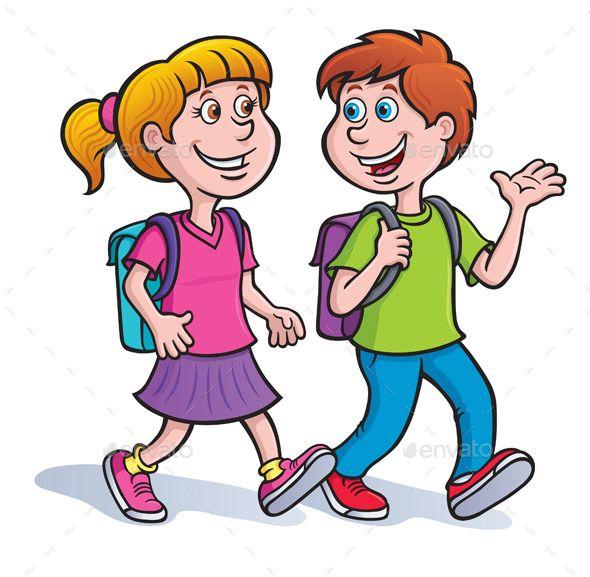 Boy And Girl Walking With Backpacks Boy Walking Cartoon Illustration Illustration Girl