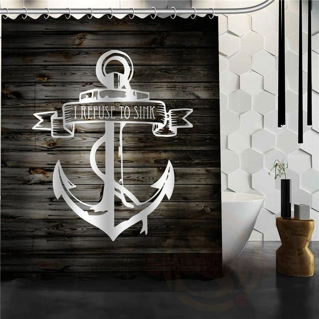Wood Plank W/Anchor Shower Curtains – Floessence