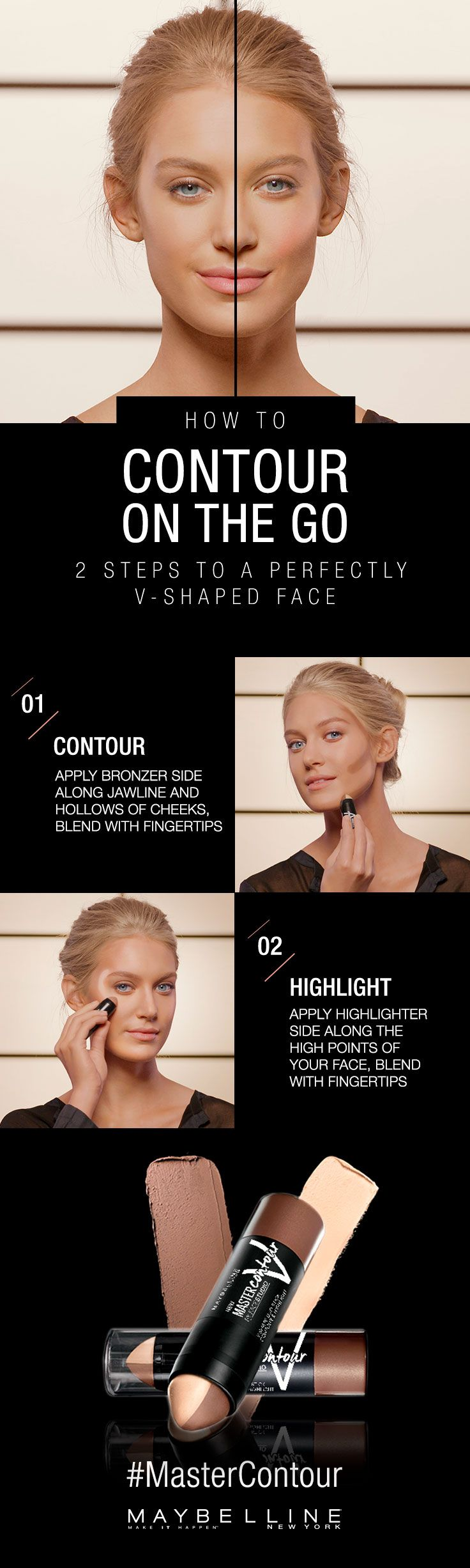 Contour on the go with Maybelline Master Contour V-Shape Duo Stick. Master the perfect v-shaped face with our easy to use contouring and highlighting duo. In two easy steps create the illusion of structure and lift. Click through for more how to`s to create the any look on the go.