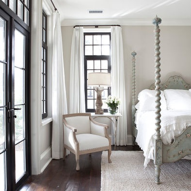 I love the black trim with the light taupe walls and white linens, Jolene Smith Interiors