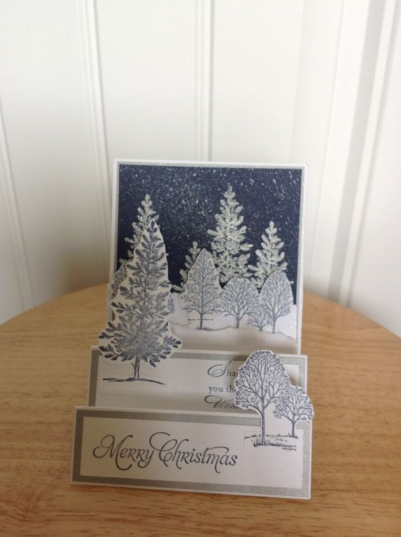 Stampin Up center step Christmas card -snowy winter evening.