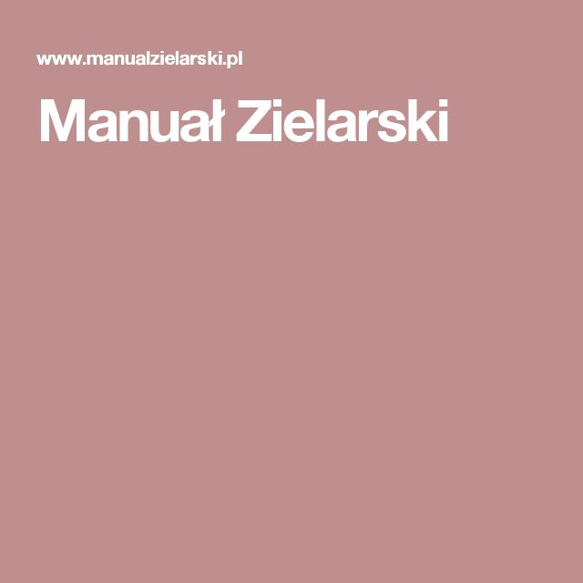 Manuał Zielarski