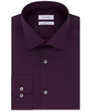 Calvin Klein Steel Men's Slim-Fit Non-Iron Performance Herringbone Dress Shirt - Red 17.5 32/33