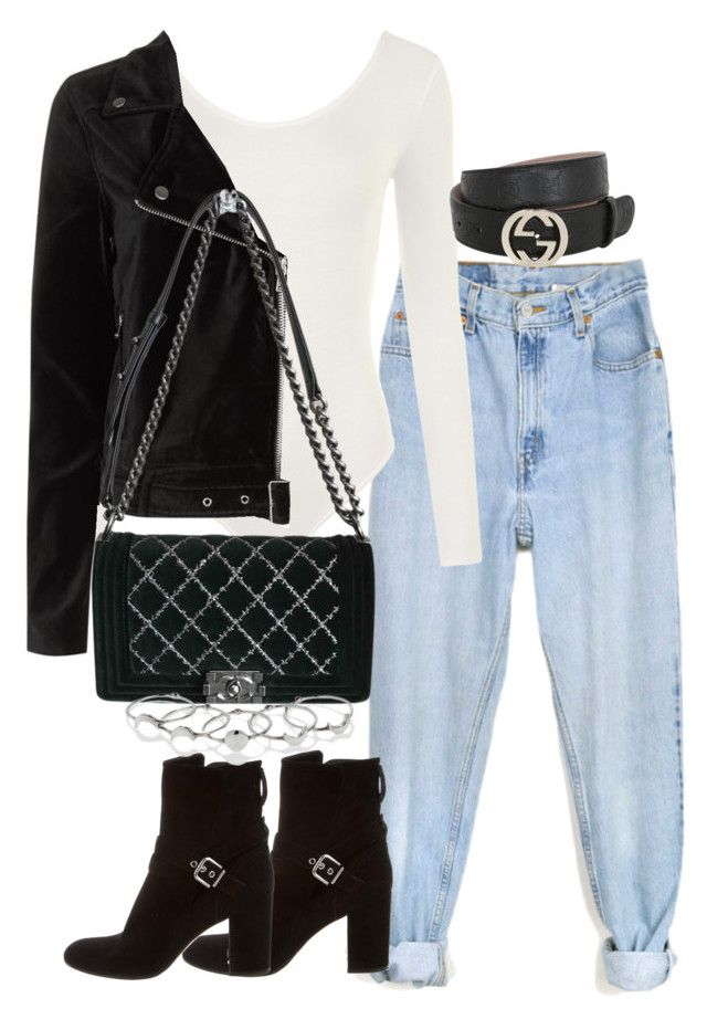 """Untitled #3278"" by theeuropeancloset on Polyvore featuring Levi's, WearAll, Paige Denim, Chanel, Gianvito Rossi, MANIAMANIA and Gucci"