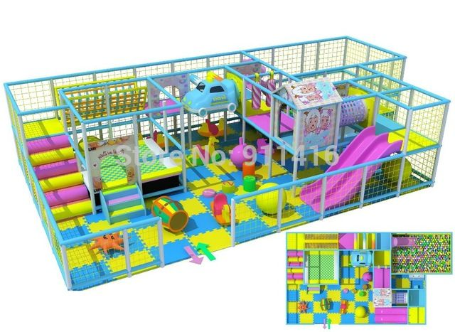 Naughty castle,indoor playground equipment with trampoline bed and big ball pit CIT-I1207