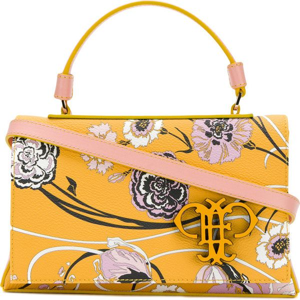 Emilio Pucci floral printed tote (1 440 AUD) ❤ liked on Polyvore featuring bags, handbags, tote bags, yellow tote, orange tote bag, yellow purse, yellow tote bag and yellow handbags