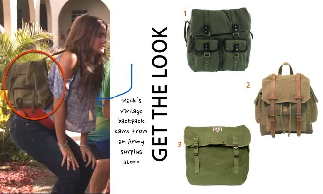 Teen Beach 2 movie: Mack's (Maia Mitchell) army green backpack book bag  #teenbeach2 #tb2 #maiamitchell  #disneychannel #getthelook