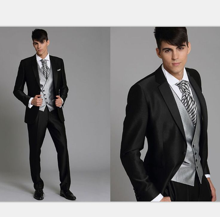 >> Click to Buy << 2015 Korea-Satin Bright Silver With Black Brim Man Groom Tuxedos Wedding Suits Prom/Formal Suit (Jacket+Pants+Vest)Custom Made #Affiliate