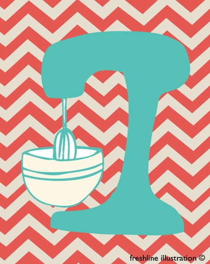 Kitchen Artwork - Kitchen Mixer Wall Art - Chevron Pattern - Coral and Turquoise - 8x10 Art Print. $18.95, via Etsy.